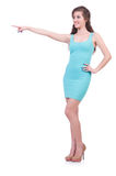 Pretty young girl in blue dress isolated on white Stock Image