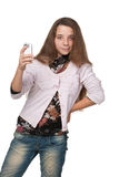 Pretty young girl with a cell phone Stock Photos