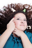 Pretty young girl with chic hair and horns Royalty Free Stock Photo