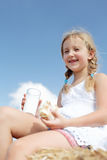 A pretty young girl dines Royalty Free Stock Images