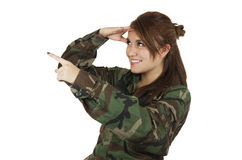 Pretty young girl dressed in green military Royalty Free Stock Images