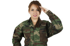 Pretty young girl dressed in green military stock photography