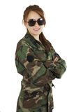 Pretty young girl dressed in green military Royalty Free Stock Image