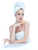 Pretty young girl enjoy a flawless skin, skin care concept royalty free stock photography