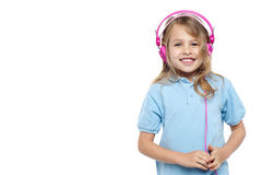 Pretty young girl enjoying music Stock Photos
