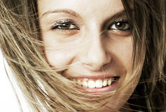 Pretty young girl face smiling Royalty Free Stock Photos