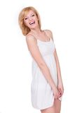 Pretty young girl feeling shy. Smiling happy woman Stock Photo