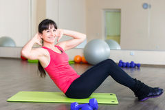 Pretty young girl fitness workout Stock Photos