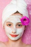 Pretty young girl getting spa treatment Stock Photos