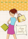 Pretty young girl with gift bags Stock Photos