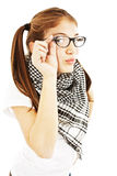Pretty young girl in glasses Stock Photos