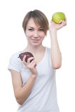 Pretty young girl with green apple Royalty Free Stock Photo