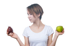 Pretty young girl with green apple Stock Photo
