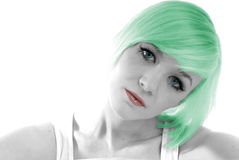 Pretty young girl green hair Royalty Free Stock Images