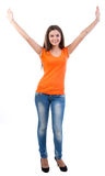 Pretty young girl hands up stock photo