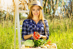 Pretty and young girl in hat, with wooden box full of vegetables and keeping tomatoes in her hands. Summer harvest. Royalty Free Stock Photography