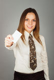 Pretty young girl holding a credit card Stock Photography