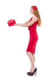 Pretty young girl holding gift box Stock Images