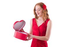 Pretty young girl holding gift box Royalty Free Stock Photo