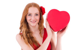 Pretty young girl holding gift box Royalty Free Stock Photography