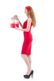 Pretty young girl holding gift box isolated on Stock Image