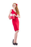 Pretty young girl holding gift box isolated on Royalty Free Stock Photography