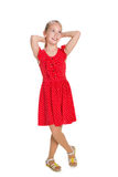 Pretty young girl imagines. A pretty young girl imagines against the white background royalty free stock photos