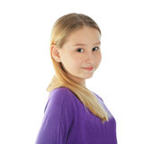 Pretty young girl isolated over white Royalty Free Stock Photography