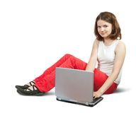 Pretty young girl  with laptop Stock Image