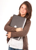 Pretty young girl and laptop Royalty Free Stock Images
