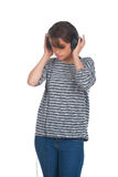Pretty young girl listening music Stock Photos