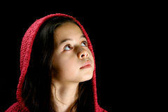 Pretty young girl looking up into the distance royalty free stock photos