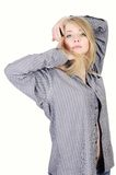 Pretty young girl in man's shirt Royalty Free Stock Photo