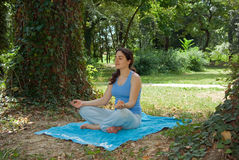 Pretty young girl meditating outside on grass Stock Photography