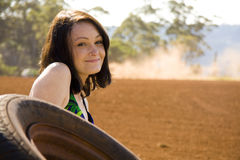 Pretty young girl in the outback royalty free stock photo