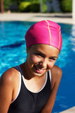 Pretty young girl in the outdoor pool. Pretty young girl in the pool Stock Image
