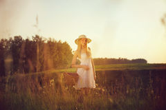 Pretty young girl with picnic basket in field Stock Images