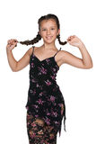 Pretty young girl with pigtails Royalty Free Stock Photo