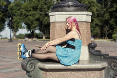 Pretty girl with pink hair Stock Photo