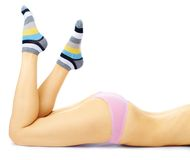 Pretty young girl in pink panties Stock Images