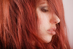 Pretty young girl portrait. Young pretty girl with red hair portrait Royalty Free Stock Photos