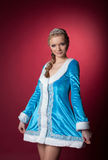 Pretty young girl posing in suit of Snow Maiden Royalty Free Stock Photography