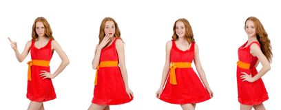 The pretty young girl in red dress isolated on white. Pretty young girl in red dress isolated on white Royalty Free Stock Image