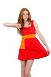 Pretty young girl in red dress isolated on white Royalty Free Stock Image