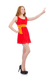 Pretty young girl in red dress isolated on white Royalty Free Stock Photos
