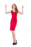Pretty young girl in red dress. The pretty young girl in red dress isolated on white Stock Images