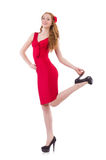 Pretty young girl in red dress. The pretty young girl in red dress isolated on white Royalty Free Stock Images