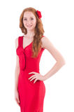 Pretty young girl in red dress. The pretty young girl in red dress isolated on white Royalty Free Stock Photography