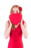 Pretty young girl in red dress Stock Images
