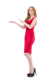 Pretty young girl in red dress isolated on white. The pretty young girl in red dress isolated on white Royalty Free Stock Photo